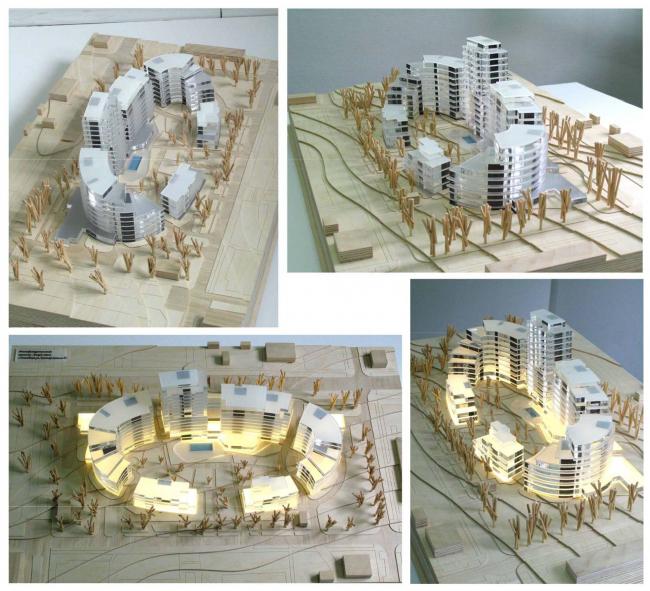 «Овальный дом». Многофункциональный комплекс – апарт-отель с жилыми домами в Геленджике, проект, 2008. Фотография макета