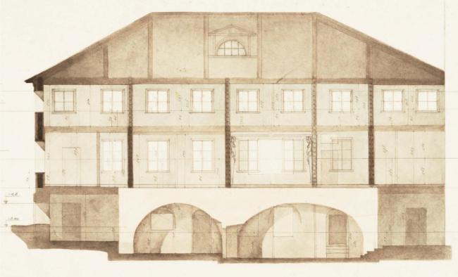Проект реставрации усадьбы А.П. Сытина. Обмерный чертеж. Продольный разрез 1955 год