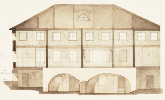 The Sytin House restoration project. The measurement drawing. The longitudinal section, 1955