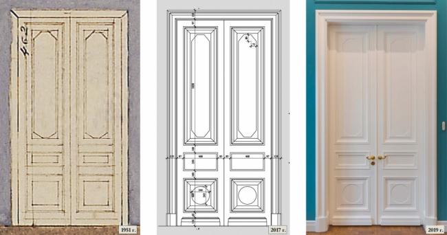 Проект реставрации усадьбы А.П. Сытина. Двустворчатые двери в парадных комнатах
