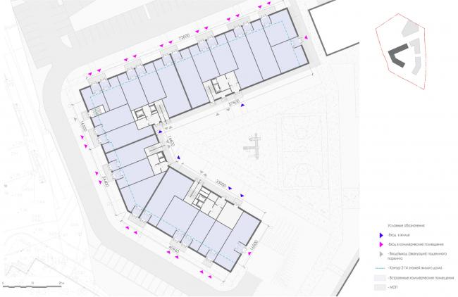 План 1-го этажа 1 корпуса жилых секций. Жилой дом на Заневском проспекте