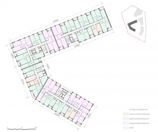 План 2-7-го этажа корпуса 1 жилых секций. Жилой дом на Заневском проспекте