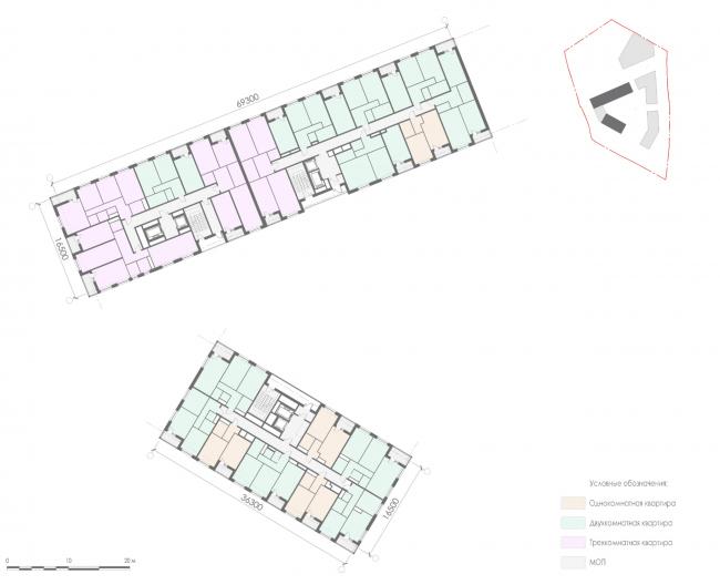 План 8-13-го этажа корпуса 1 жилых секций. Жилой дом на Заневском проспекте