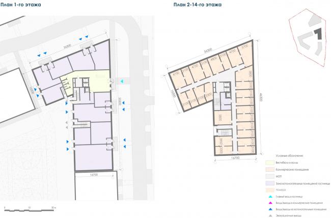 Планы этажей 2-го корпуса гостиницы. Жилой дом на Заневском проспекте