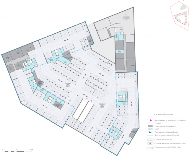 План подземного паркинга. Жилой дом на Заневском проспекте