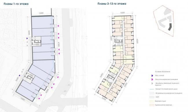 Планы корпуса 2 жилых секций. Жилой дом на Заневском проспекте
