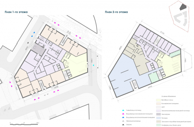 План этажей 1-го корпуса гостиницы. Жилой дом на Заневском проспекте