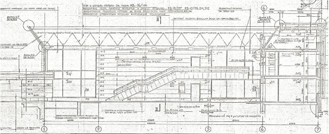 Зал наземного павильона станции метрополитена «Политехническая». Фрагмент архивной рабочей документации