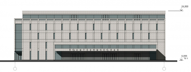 Юго-западный фасад. Реконструкция вестибюля станции «Политехническая» и строительство МФК
