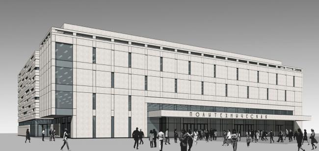 Перспективный вид фасада обращенного на пл. Академика Иоффе. Реконструкция вестибюля станции «Политехническая» и строительство МФК