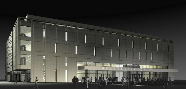 Перспективный вид фасада обращенного на пл. Академика Иоффе (ночь). Реконструкция вестибюля станции «Политехническая» и строительство МФК