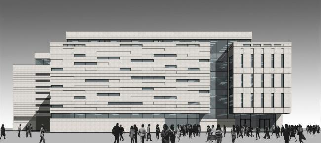 Перспективный вид фасада обращенного на ул. Политехническая. Реконструкция вестибюля станции «Политехническая» и строительство МФК
