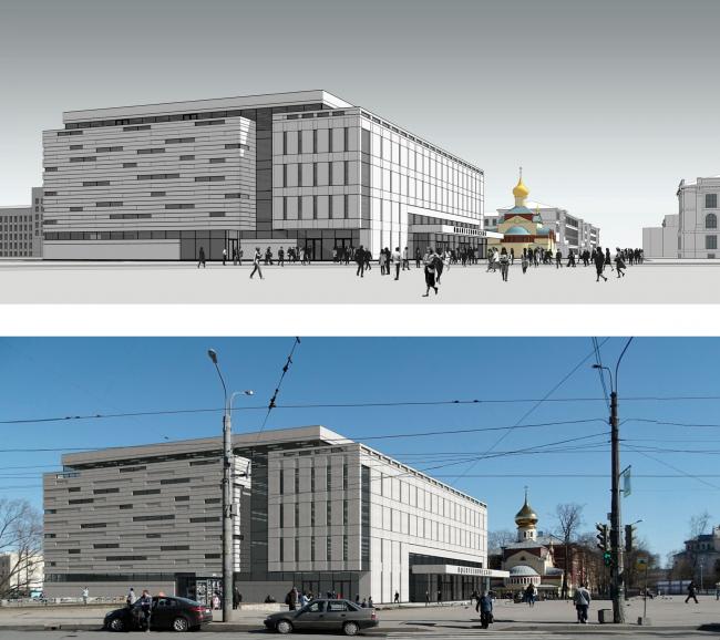 Перспективный вид в окружающей застройке. Реконструкция вестибюля станции «Политехническая» и строительство МФК