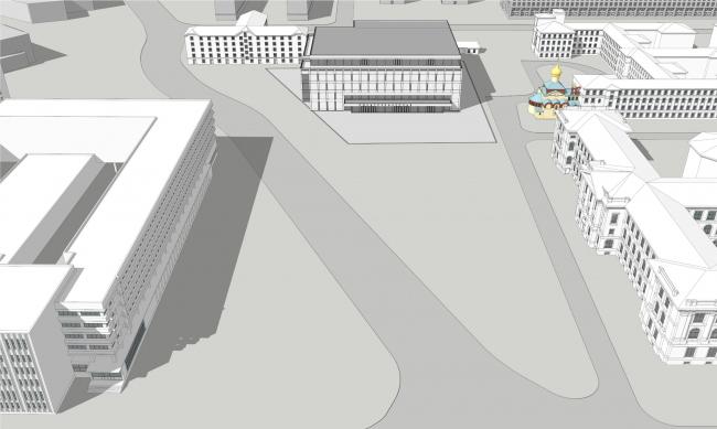 Панорамный вид сверху. Реконструкция вестибюля станции «Политехническая» и строительство МФК