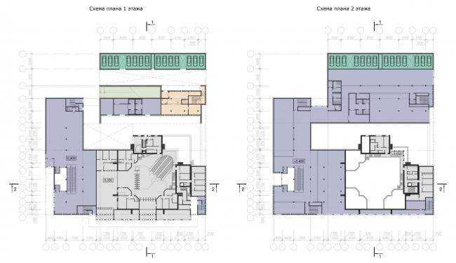 Схемы планов 1-2 этажей. Реконструкция вестибюля станции «Политехническая» и строительство МФК