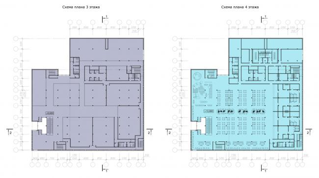Схемы планов 3-4 этажей. Реконструкция вестибюля станции «Политехническая» и строительство МФК