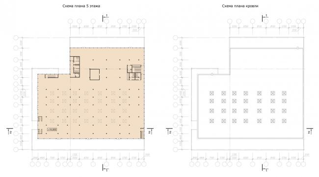 Схемы планов 5-го этажа и крыши. Реконструкция вестибюля станции «Политехническая» и строительство МФК