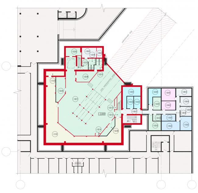 Фрагмент схемы плана подземного этажа  реконструируемого вестибюля. Реконструкция вестибюля станции «Политехническая» и строительство МФК