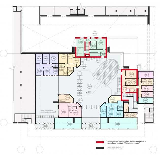 Фрагмент схемы плана 1-го этажа реконструируемого вестибюля станции «Политехническая». Реконструкция вестибюля станции «Политехническая» и строительство МФК