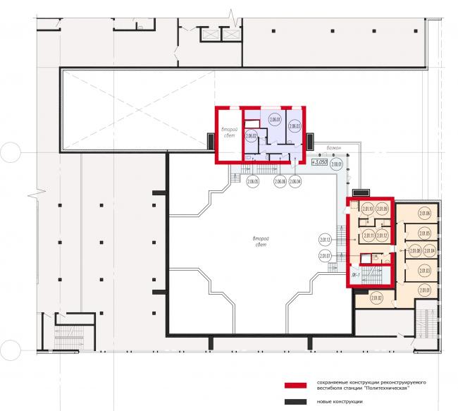 Фрагмент схемы плана 2-го этажа реконструируемого вестибюля станции «Политехническая». Реконструкция вестибюля станции «Политехническая» и строительство МФК