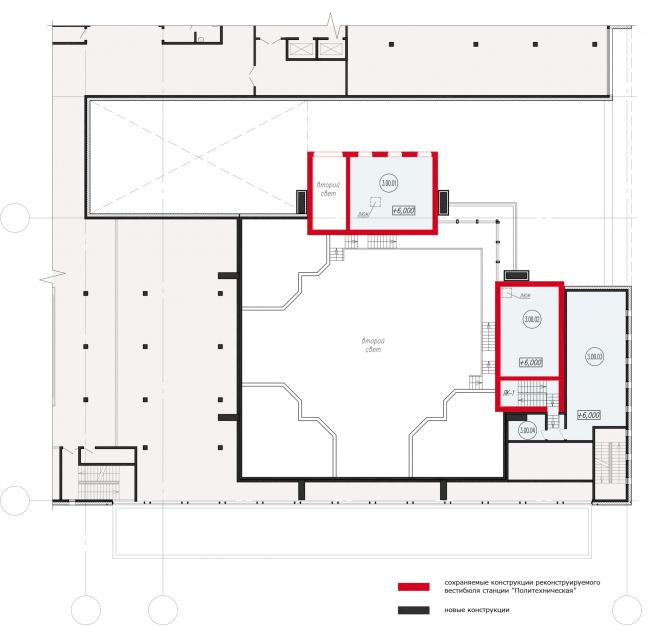 Фрагмент схемы плана 3-го этажа реконструируемого вестибюля станции «Политехническая». Реконструкция вестибюля станции «Политехническая» и строительство МФК