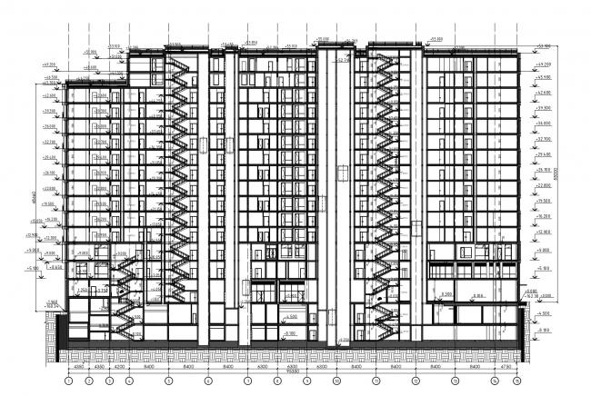 Разрез 1-1. HILL 8 Апарт-отель с подземным паркингом на проспекте Мира