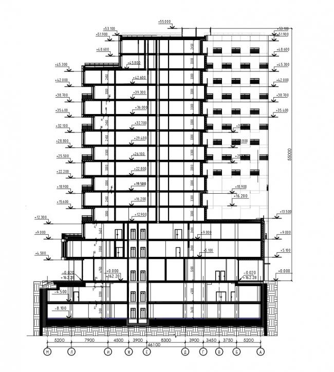 Разрез 2-2. HILL 8 Апарт-отель с подземным паркингом на проспекте Мира