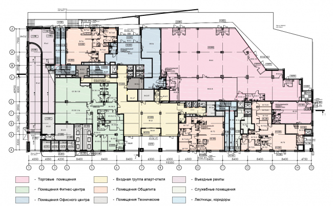План 1-го этажа. HILL 8 Апарт-отель с подземным паркингом на проспекте Мира