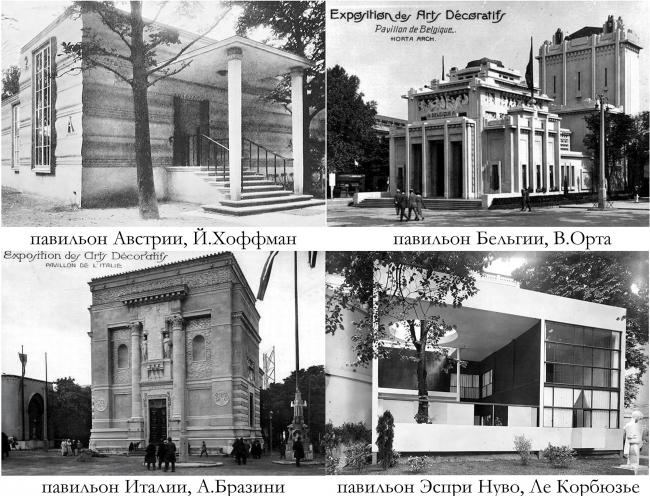 Павильоны Австрии, Бельгии, Италии и «Эспри Нуво». Ле Корбюзье