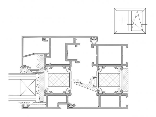 Система Realit® RW 64 HI: Сечение поворотно-откидного (распашного) окна в фасаде