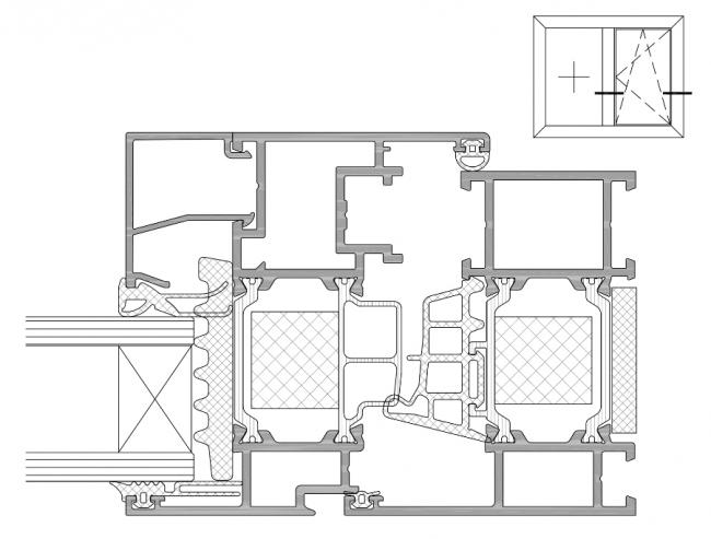 Система Realit® RW 71 HI+:сечение комбинированного окна