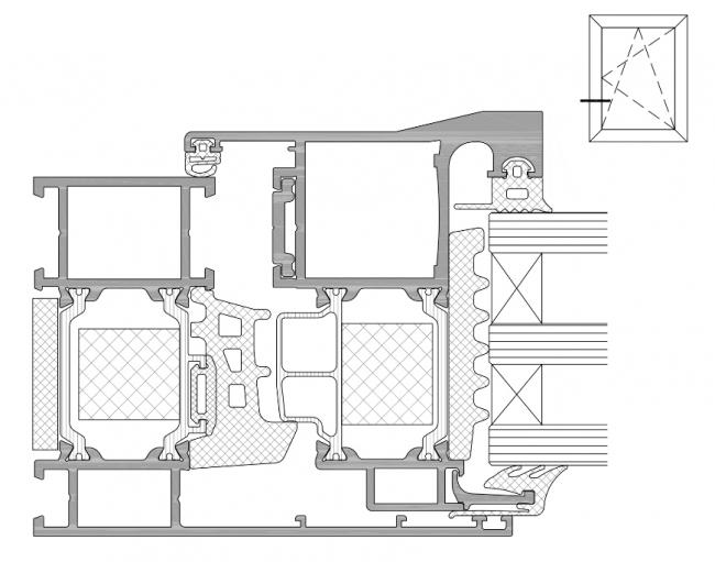 Система Realit® RW 71 HI+: сечение поворотно-откидного (распашного) окна со скрытой створкой