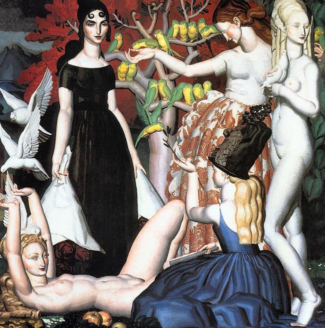 Картина главного зала «Дом Коллекционера» -«Попугайчики» Ж. Дюпа