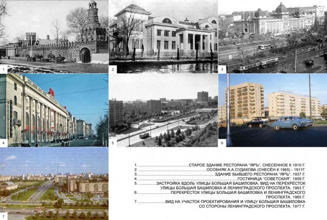 История застройки участка: участок проектирования и гостиница «Советская». Многофункциональный комплекс «Алкон III»
