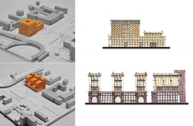 Предварительные варианты. Комплекс апартаментов Alcon Tower и многофункциональный комплекс Alcon III