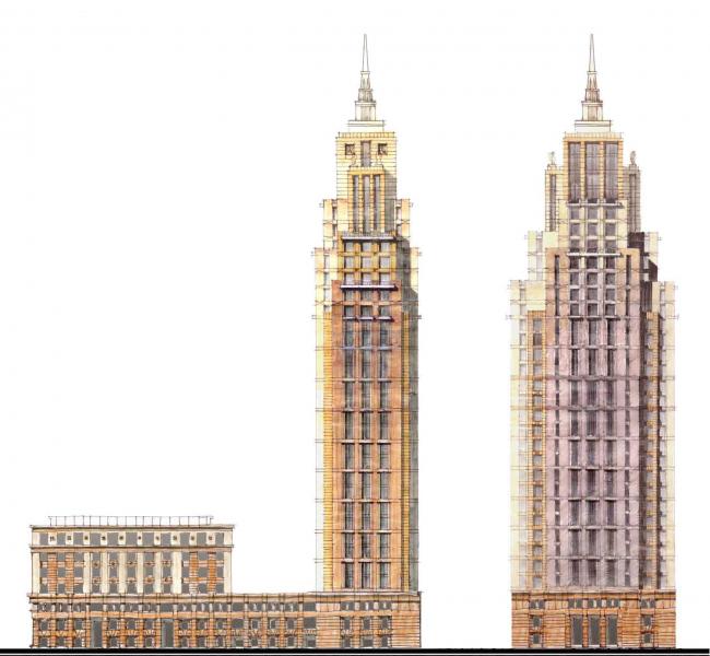 Эскиз основного варианта. Комплекс апартаментов Alcon Tower и многофункциональный комплекс Alcon III
