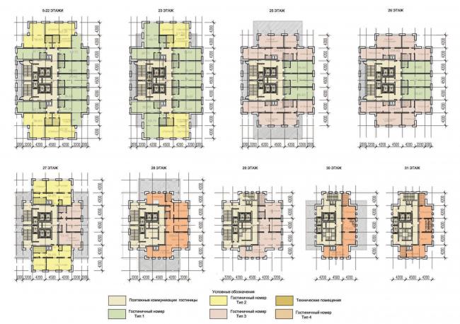 Планы жилых этажей. Многофункциональный комплекс «Алкон III»