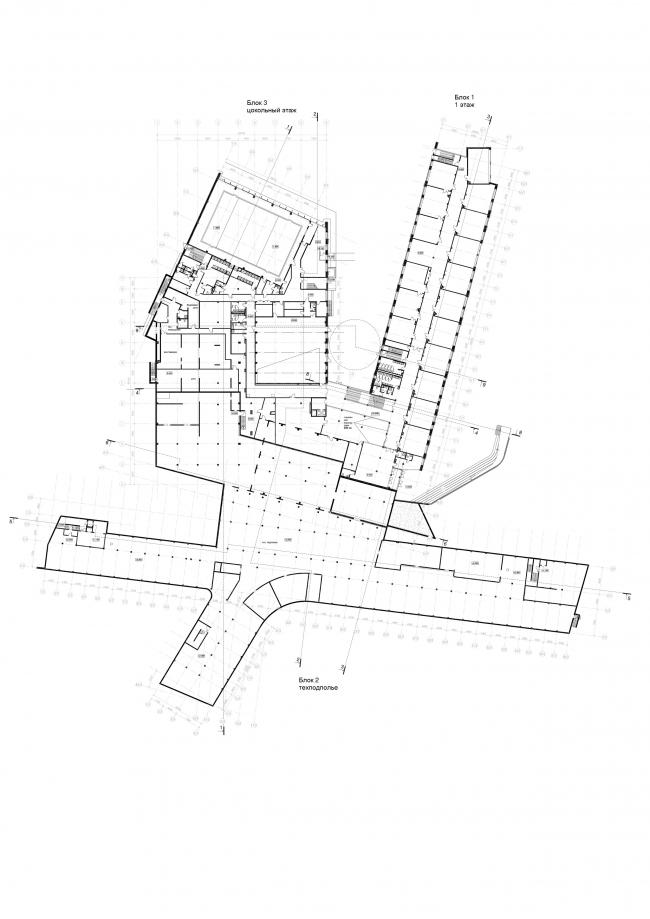 Школа на 2100 мест в Троицке. План 1-го этажа