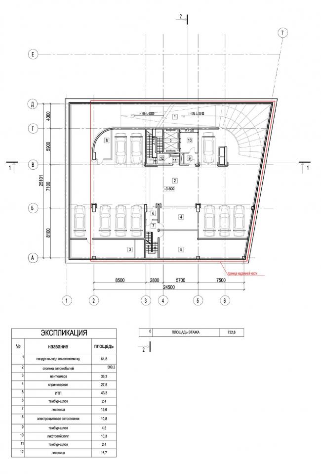 Edison House. План -1 этажа автостоянки. Проект 2010 года