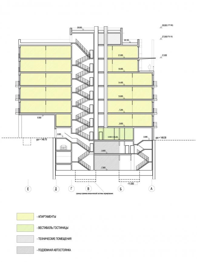 Edison House. Разрез 2-2. Проект 2010 года