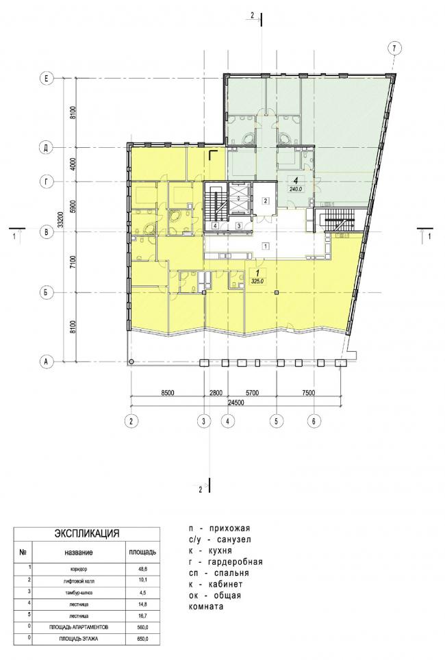 Edison House. План шестого этажа. Проект 2010 года