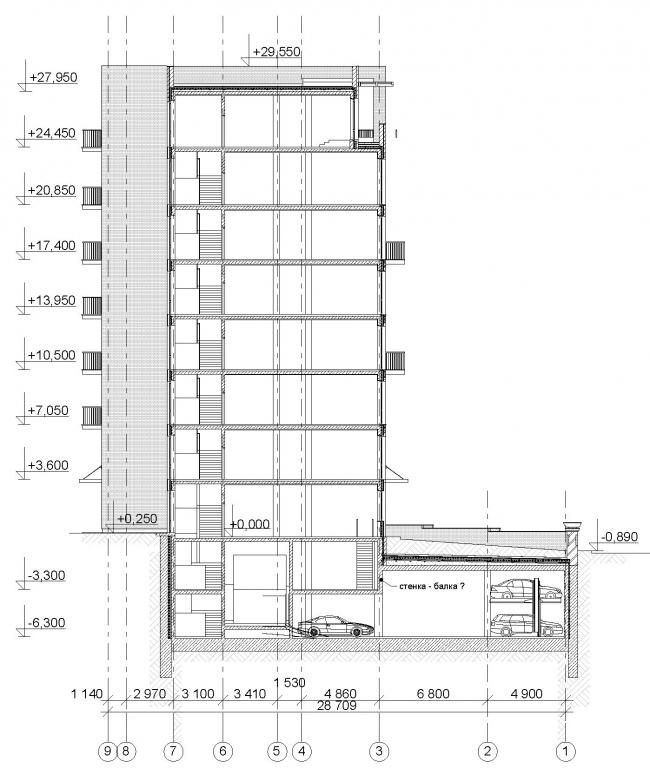 Edison House. Разрез. Проект 2013 года