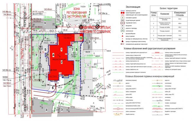 Edison House. Схема планировочной организации земельного участка, совмещенная со схемой транспортной организации территории. Проект 2014 года