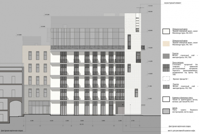 Edison House. Схема фасада в осях А – К. Проект 2014 года