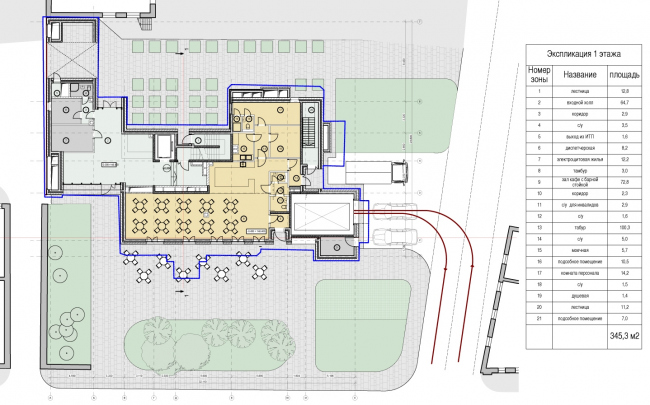 Edison House. Схема плана первого этажа. Проект 2014 года
