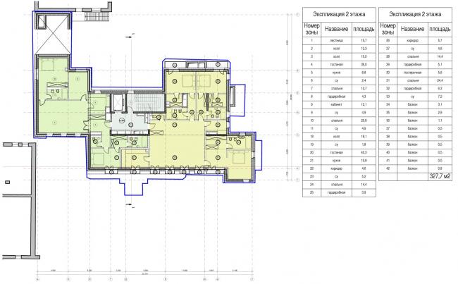 Edison House. Схема плана второго этажа. Проект 2014 года