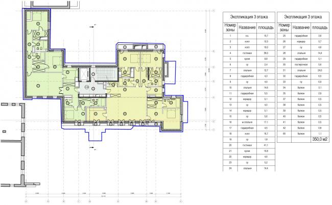 Edison House. Схема плана третьего этажа. Проект 2014 года