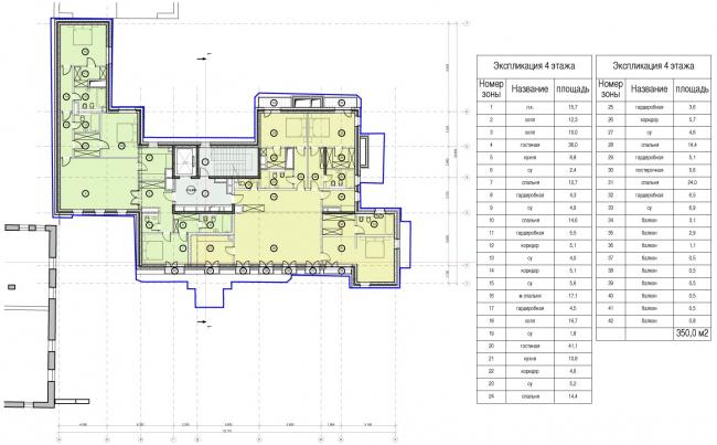 Edison House. Схема плана четвертого этажа. Проект 2014 года