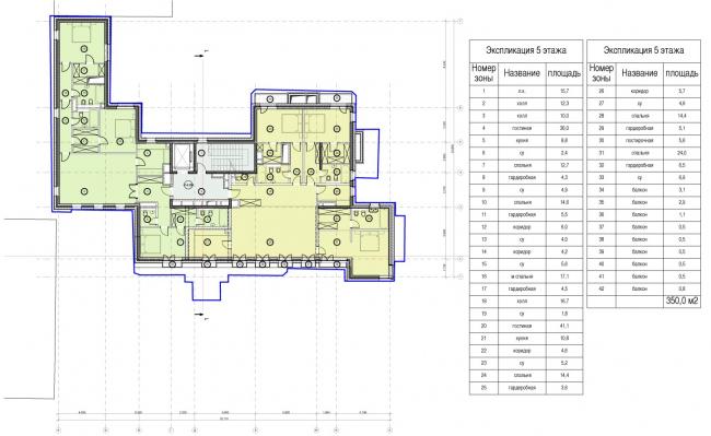 Edison House. Схема плана пятого этажа. Проект 2014 года