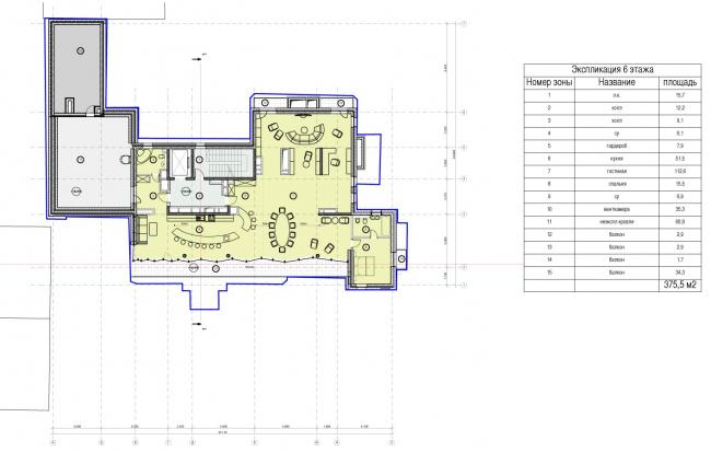 Edison House. Схема плана 6 этажа. Проект 2014 года